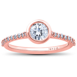 1ct Charlotte Diamond Engagement Ring 14k Rose Gold Lab Grown Bezel Round (F/G, VS2-SI1)