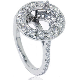 VS 1ct Pave Halo Oval Engagement Ring Setting 14K White Gold (G/H, VS1-VS2)