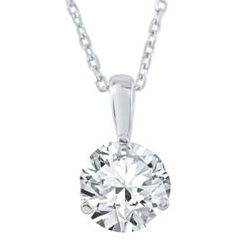 3/4 ct Solitaire Diamond Pendant available in 14K and Platinum (F, SI1-SI2)