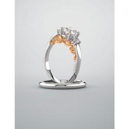 1 1/4ct Three Stone Round Diamond Engagement Ring Vintage Rose Gold 1ct Center (H/I, I1-I2)