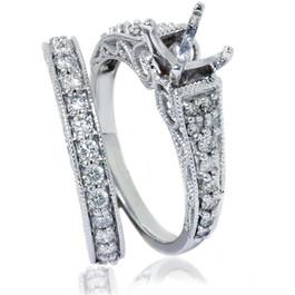 3/4ct Vintage Diamond Ring Heirloom Filigree Set 14K White Gold (G/H, SI1-SI2)
