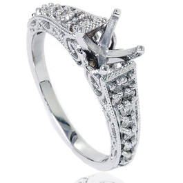 3/8ct Vintage Diamond Engagement Ring Mount 14K White Gold (G/H, SI2)