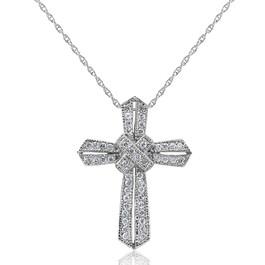 1/2ct Vintage Pave Diamond Cross Pendant 14K White Gold (G/H, I2)