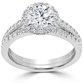 1 1/2 ct Diamond Halo Engagement Wedding Ring Set 14k White Gold Enhanced (G/H, I1-I2)