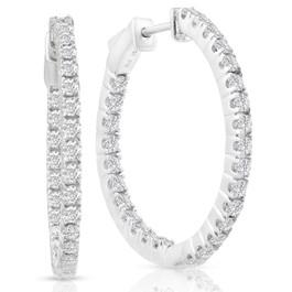 """1.50ct Diamond Inside Outside Hoops Vault Lock 1"""" Tall 14k White Gold (F-G,VS) (D, VS(1)-VS(2))"""