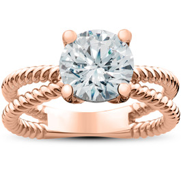 2 ct Solitaire Lab Grown Diamond Braided Lily Engagement Ring in 14k Gold