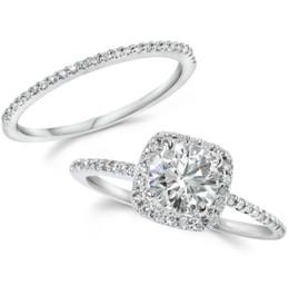 Diamond Engagement Ring Matching Halo Wedding Ring Set 14K White Gold Round (H-I, I1)