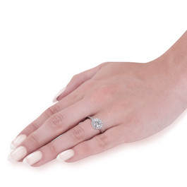 3/4ct Lab Grown Eco Friendly Diamond Madelyn Halo Engagement Ring 14k White Gold (F, VS)