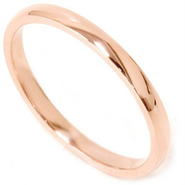 2mm 14K Rose Gold Comfort Fit Plain Wedding Band