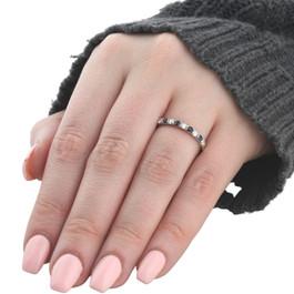 1/4CT Blue Sapphire & Diamond Wedding Ring 10K White Gold (G/H, I1-I2)