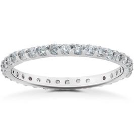 7/8 ct Diamond Eternity Womens Stackable Wedding Ring (F, VS)