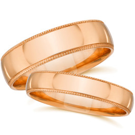 His Hers Matching Wedding Bands 14k Rose Gold