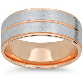 Mens 14k Rose & White Gold Two Tone Brushed Wedding Band