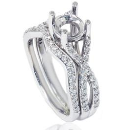 3/4ct Twist Engagement Ring Set 14K White Gold (G/H, I1)