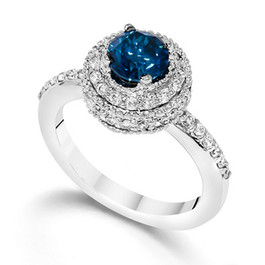 1 Carat Treated Blue Diamond Engagement Ring Vintage Antique 14K White Gold (G/H, I2)