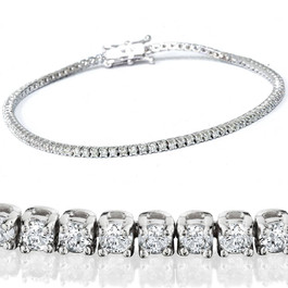"2 1/2ct Genuine Diamond Tennis Bracelet Solid 14K White Gold 7"" (G/H, I1)"