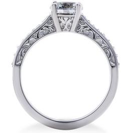 2 1/6 ct Lab Grown Eco Friendly Diamond Vintage Engagement Ring 14k White Gold (F, VS)