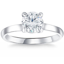 1 ct Diamond Solitaire Engagement Ring 14k White Gold (F, VS)