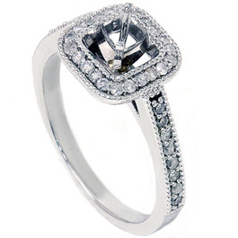 3/8 CT Round Halo Diamond Ring Setting 14K White Gold (G/H, I2)