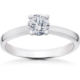 1/2 ct Lab Grown Eco Friendly Diamond Elizabeth Engagement Ring 14k White Gold (F, VS)