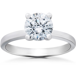 1 1/2 ct Lab Grown Eco Friendly Diamond Elizabeth Engagement Ring 14k White Gold (F, VS)