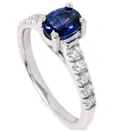 7/8ct Blue Sapphire Accent Diamond Ring 14K White Gold (G, I2)