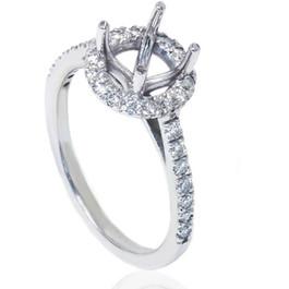 1/3ct Halo Diamond Ring Setting 14K White Gold (G/H, I1-I2)