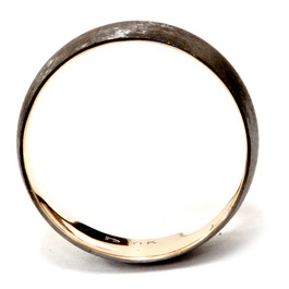 Mens 14k Black & Yellow Gold Two Tone Brushed Wedding Band