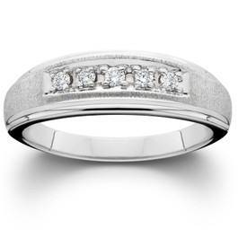 Mens Diamond Wedding Brushed Ring 10K White Gold (I/J/K, I2-I3)