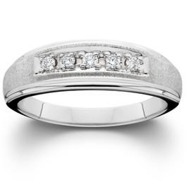 Mens Diamond Wedding Brushed Ring 10K White Gold (I/J/K, I2-I3)