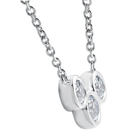 "1 3/4ct Diamond 3 Stone Bezel Pendant 14k White Gold 18"" Lobster Clasp Lab Grown (G-H,SI1-SI2) (F, VS)"