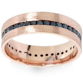 1 1/10ct Channel Set Black Diamond Brushed Ring 14K Rose Gold Mens Wedding Band (Black, )