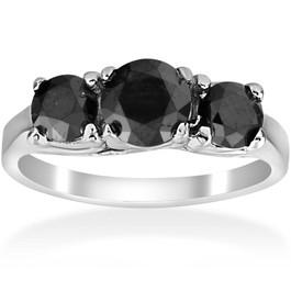 2 1/3ct Three Stone Black Diamond Engagement Ring 14K White Gold (Black, AAA)