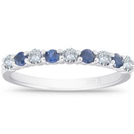 1/2CT Blue Sapphire & Diamond Wedding Ring 10K White Gold (H/I, I1-I2)