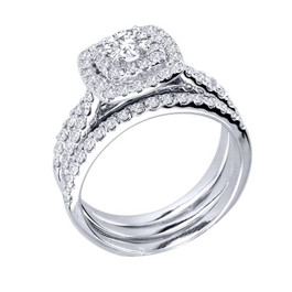 1 1/4ct Diamond Engagement Cushion Halo Wedding Ring Trio Set 10K White Gold (H/I, I1-I2)