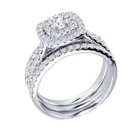 1 1/4ct Diamond Engagement Cushion Halo Wedding Ring Trio Set 10K White Gold (H/I, I1-I2)