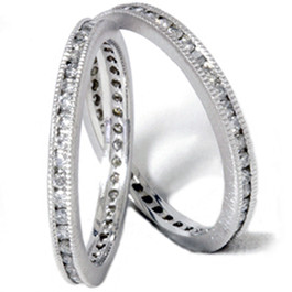 1ct Stackable Eternity Wedding Guard Rings 14K Set (G/H, I2)