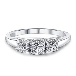 1ct Three Stone Diamond Ring 14K White Gold (G/H, I1)