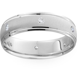 Mens 14k White Gold 6mm Wedding Ring (G/H, SI1-SI2)
