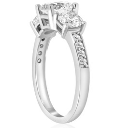 1 5/8 ct Three Stone Diamond Engagement Ring 14k White Gold (H, I1)