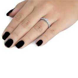1/4ct Three Stone Round Diamond Engagement Ring 14K White Gold (H, I1)