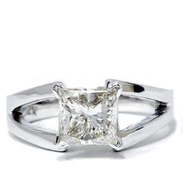 1ct Princess Cut Solitaire Enhanced Diamond Ring 14K White Gold (G, I1)