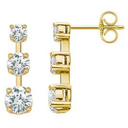 1ct Three Stone Diamond Earrings 14K Yellow Gold (G/H, I2)