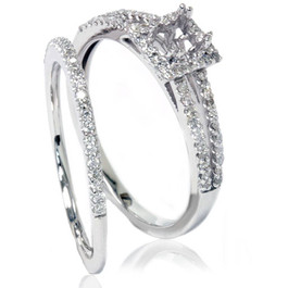 3/8CT Split Shank Princess Cut Halo Engagement Ring Set Setting 14K White Gold (G/H, I1-I2)