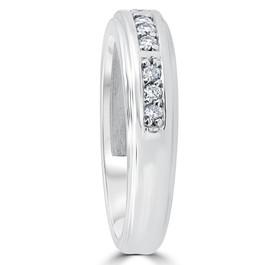 1/4Ct Mens Round Diamond Polished Wedding Ring 14k White Gold (I/J, I1-I2)