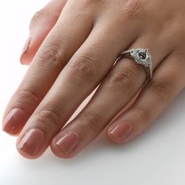 1/5ct Vintage Halo Diamond Engagement Ring Setting 14k White Gold With Milgrain (H/I, I1)