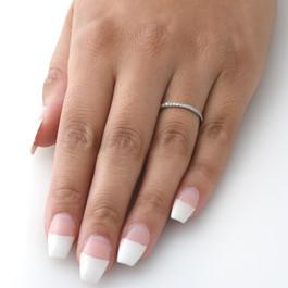 1/8ct Stackable Womens Diamond Wedding Ring 10k White Gold (I/J, I2-I3)