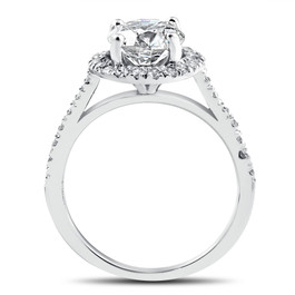 2 1/3 ct Round Round Diamond Halo Engagement Ring 14k White Gold Enhanced (G/H, I1-I2)