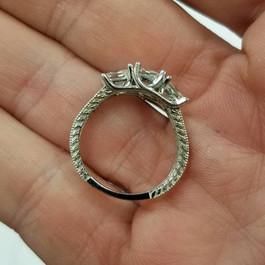 2ct Vintage Three Stone Princess Cut Diamond Engagement Ring 14K White Gold (F, SI(2)-I(1))
