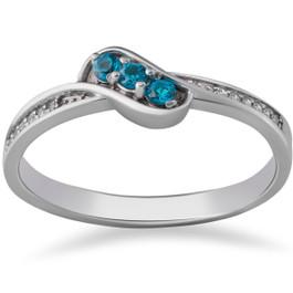 1/6ct Blue & White Diamond 3-Stone Ring 14k White Gold (J-K, I2-I3)